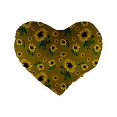 Sunflowers Pattern Standard 16  Premium Flano Heart Shape Cushions by Valentinaart