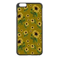 Sunflowers Pattern Apple Iphone 6 Plus/6s Plus Black Enamel Case by Valentinaart