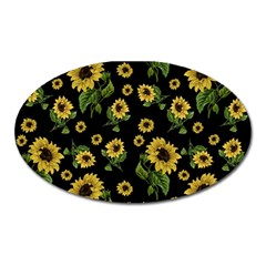 Sunflowers Pattern Oval Magnet by Valentinaart
