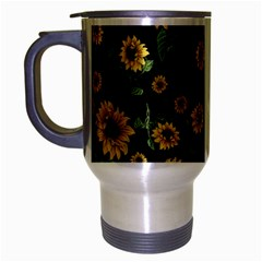 Sunflowers Pattern Travel Mug (silver Gray) by Valentinaart