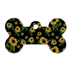Sunflowers Pattern Dog Tag Bone (one Side) by Valentinaart