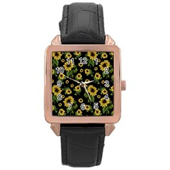Sunflowers Pattern Rose Gold Leather Watch  by Valentinaart