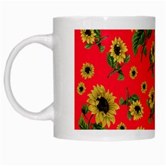 Sunflowers Pattern White Mugs by Valentinaart
