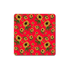Sunflowers Pattern Square Magnet by Valentinaart