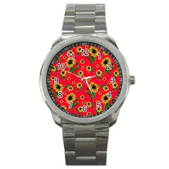 Sunflowers Pattern Sport Metal Watch by Valentinaart