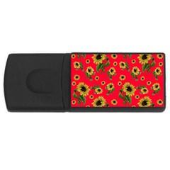 Sunflowers Pattern Rectangular Usb Flash Drive by Valentinaart