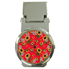 Sunflowers Pattern Money Clip Watches by Valentinaart