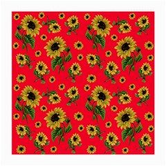 Sunflowers Pattern Medium Glasses Cloth (2 Side) by Valentinaart