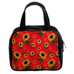 Sunflowers Pattern Classic Handbags (2 Sides) by Valentinaart