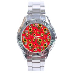 Sunflowers Pattern Stainless Steel Analogue Watch by Valentinaart