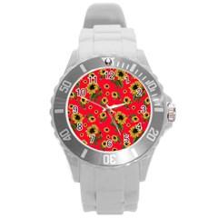 Sunflowers Pattern Round Plastic Sport Watch (l) by Valentinaart