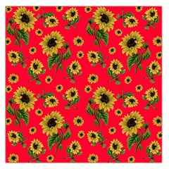 Sunflowers Pattern Large Satin Scarf (square) by Valentinaart