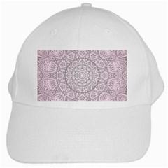 Pink Mandala Art  White Cap by paulaoliveiradesign