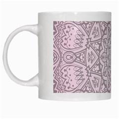 Pink Mandala art  White Mugs