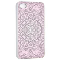 Pink Mandala art  Apple iPhone 4/4s Seamless Case (White)