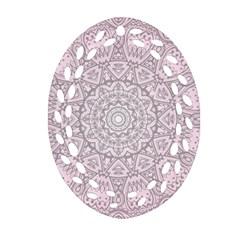 Pink Mandala art  Oval Filigree Ornament (Two Sides)
