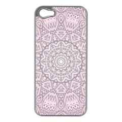 Pink Mandala art  Apple iPhone 5 Case (Silver)