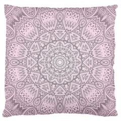 Pink Mandala Art  Large Flano Cushion Case (two Sides) by paulaoliveiradesign