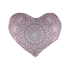Pink Mandala art  Standard 16  Premium Flano Heart Shape Cushions