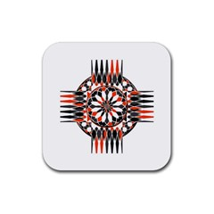Geometric Celtic Cross Rubber Coaster (square)  by linceazul
