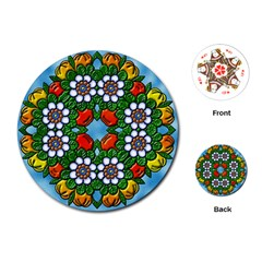 Cute Floral Mandala  Playing Cards (round)  by paulaoliveiradesign
