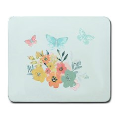 Watercolor Floral Blue Cute Butterfly Illustration Large Mousepads by paulaoliveiradesign