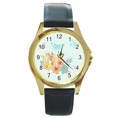 Watercolor Floral Blue Cute Butterfly Illustration Round Gold Metal Watch by paulaoliveiradesign