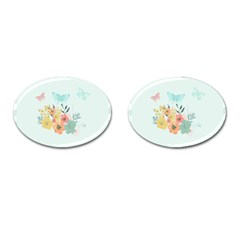 Watercolor Floral Blue Cute Butterfly Illustration Cufflinks (oval) by paulaoliveiradesign