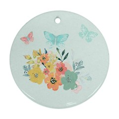 Watercolor Floral Blue Cute Butterfly Illustration Round Ornament (two Sides)