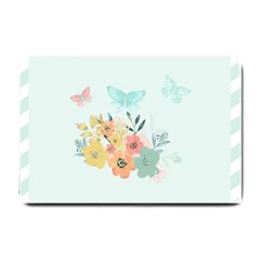 Watercolor Floral Blue Cute Butterfly Illustration Small Doormat  by paulaoliveiradesign