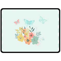 Watercolor Floral Blue Cute Butterfly Illustration Fleece Blanket (large)  by paulaoliveiradesign