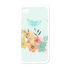 Watercolor Floral Blue Cute Butterfly Illustration Apple Iphone 4 Case (white) by paulaoliveiradesign