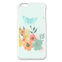 Watercolor Floral Blue Cute Butterfly Illustration Apple Iphone 6 Plus/6s Plus Enamel White Case by paulaoliveiradesign