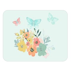 Watercolor Floral Blue Cute Butterfly Illustration Double Sided Flano Blanket (large)  by paulaoliveiradesign