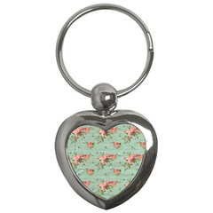 Vintage Blue Wallpaper Floral Pattern Key Chains (heart)  by paulaoliveiradesign