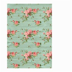 Vintage Blue Wallpaper Floral Pattern Small Garden Flag (two Sides) by paulaoliveiradesign