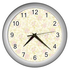 Floral Paper Pink Girly Pattern Wall Clocks (silver)  by paulaoliveiradesign