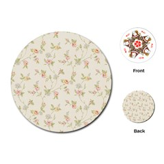 Floral Paper Pink Girly Cute Pattern  Playing Cards (round)  by paulaoliveiradesign
