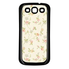 Floral Paper Pink Girly Cute Pattern  Samsung Galaxy S3 Back Case (black)