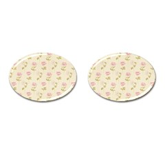 Floral Paper Illustration Girly Pink Pattern Cufflinks (oval) by paulaoliveiradesign