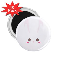 Rabbit Cute Animal White 2 25  Magnets (10 Pack)