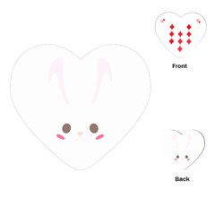 Rabbit Cute Animal White Playing Cards (heart)  by Nexatart