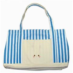 Rabbit Cute Animal White Striped Blue Tote Bag