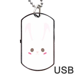 Rabbit Cute Animal White Dog Tag Usb Flash (two Sides) by Nexatart