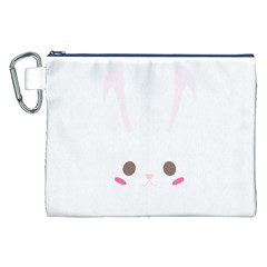 Rabbit Cute Animal White Canvas Cosmetic Bag (xxl) by Nexatart