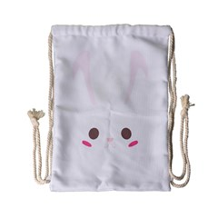 Rabbit Cute Animal White Drawstring Bag (small)