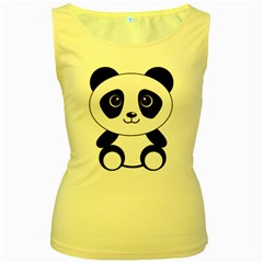 Bear Panda Bear Panda Animals Women s Yellow Tank Top by Nexatart