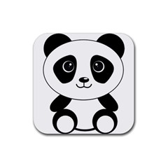 Bear Panda Bear Panda Animals Rubber Coaster (square)  by Nexatart