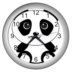 Bear Panda Bear Panda Animals Wall Clocks (silver)  by Nexatart
