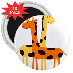 Giraffe Africa Safari Wildlife 3  Magnets (10 Pack)  by Nexatart